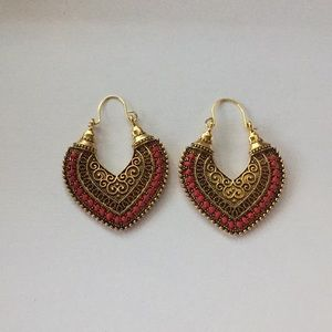 Bohemian Gold Plated & Pink Dangle Earrings